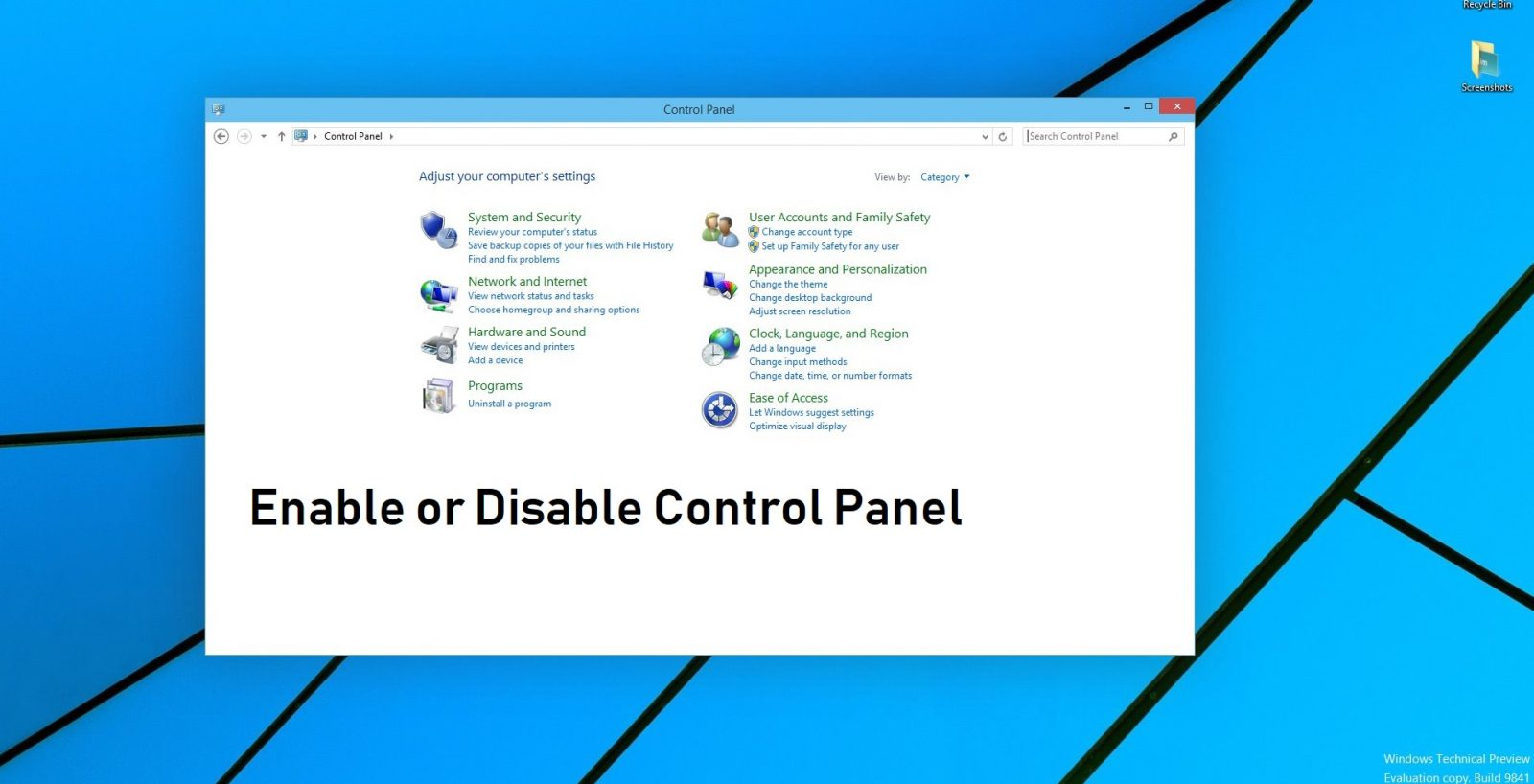 disabel enable control panel