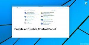 disabel enable control panel